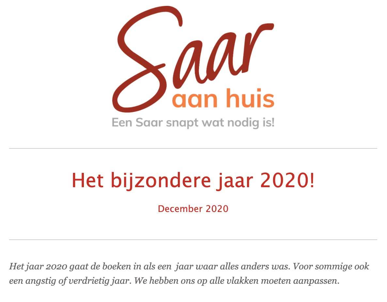 Saar aan Huis december nieuwsbrief. Het bijzondere jaar 2020!