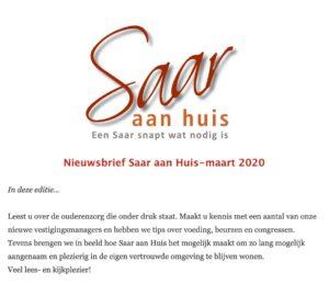Saar aan Huis maart nieuwsbrief. Langer thuis wonen met aanvullende mantelzorg.